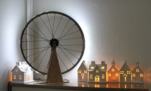 Lampe diy ciloubidouille velo bicyle recyclage design - Velo decoration ...